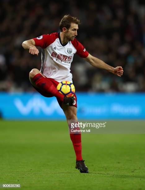 Craig Dawson of West Bromwich Albion during the Premier League match between West Ham United and West Bromwich Albion at London Stadium on January 2...