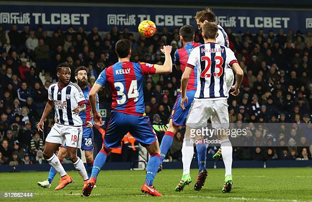 Craig Dawson of West Bromwich Albion heads the ball to score his team's second goal during the Barclays Premier League match between West Bromwich...