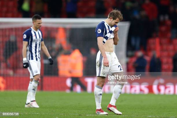 Craig Dawson of West Bromwich Albion reacts following the Premier League match between AFC Bournemouth and West Bromwich Albion at Vitality Stadium...