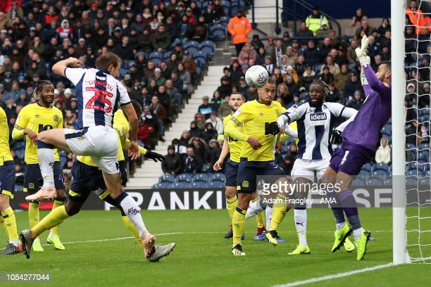 Craig Dawson of West Bromwich Albion scores a goal to make it 10 during the Sky Bet Championship match between West Bromwich Albion v Blackburn...