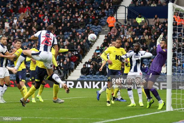 Craig Dawson of West Bromwich Albion scores a goal to make it 1-0 during the Sky Bet Championship match between West Bromwich Albion v Blackburn...