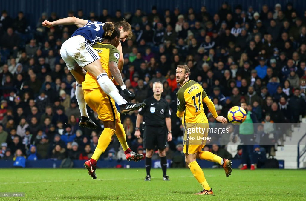 Craig Dawson of West Bromwich Albion scores his sides second goal during the Premier League match between West Bromwich Albion and Brighton and Hove Albion at The Hawthorns on January 13, 2018 in West Bromwich, England.