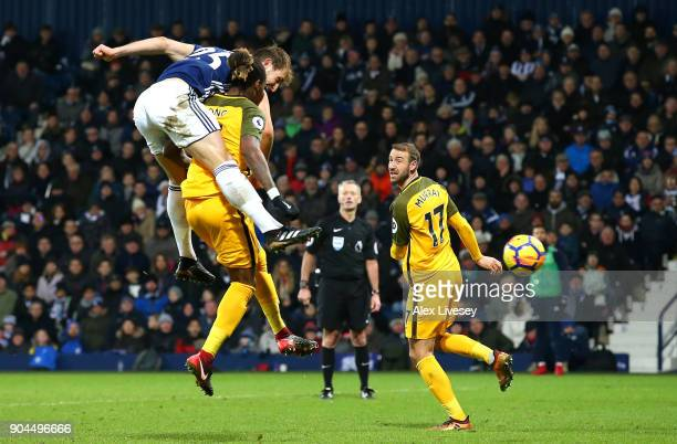 Craig Dawson of West Bromwich Albion scores his sides second goal during the Premier League match between West Bromwich Albion and Brighton and Hove...