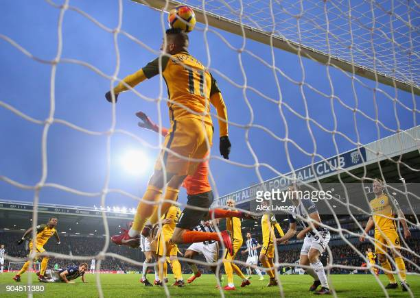 Craig Dawson of West Bromwich Albion scores his sides second goal during the Premier League match between West Bromwich Albion and Brighton and Hove...