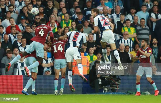 Craig Dawson of West Bromwich Albion scores his team's first goal during the Sky Bet Championship Playoff semi final second leg match between West...