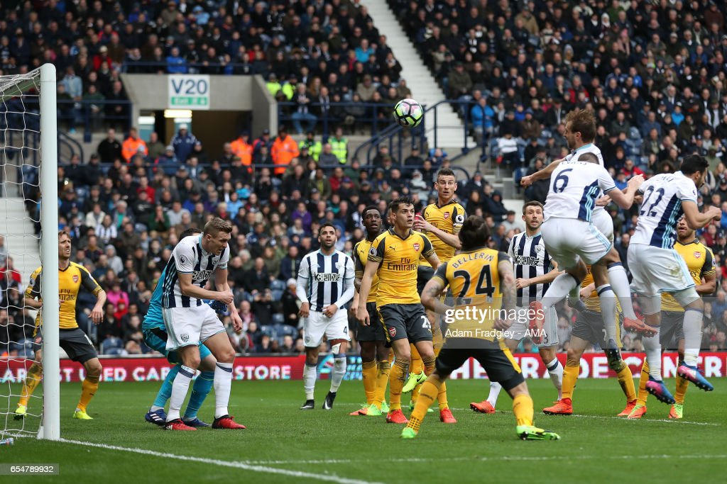 Craig Dawson of West Bromwich Albion scores his team's third goal to make the score 3-1 during the Premier League match between West Bromwich Albion and Arsenal at The Hawthorns on March 18, 2017 in West Bromwich, England.