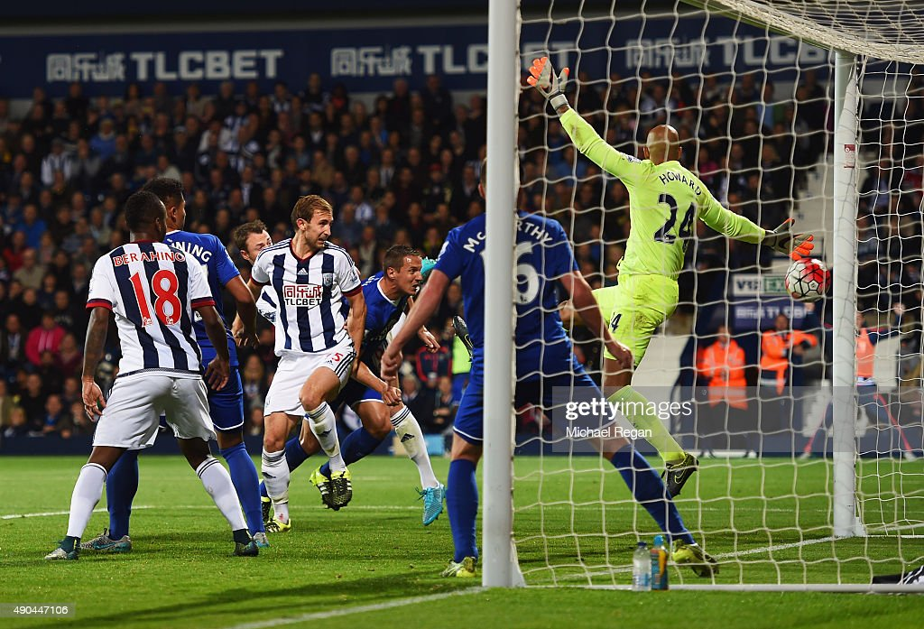 Craig Dawson of West Bromwich Albion (25) scores their second goal past goalkeeper Tim Howard of Everton during the Barclays Premier League match between West Bromwich Albion and Everton at The Hawthorns on September 28, 2015 in West Bromwich, United Kingdom.