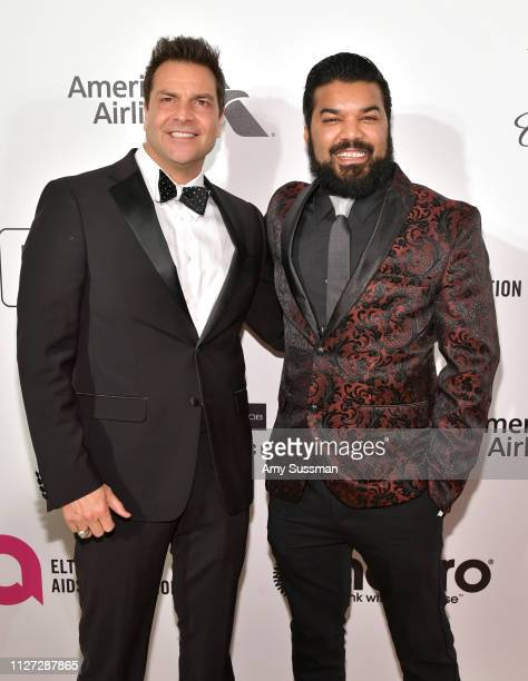 Craig DiFrancia and Adrian Dev attend the 27th annual Elton John AIDS Foundation Academy Awards Viewing Party celebrating EJAF and the 91st Academy...