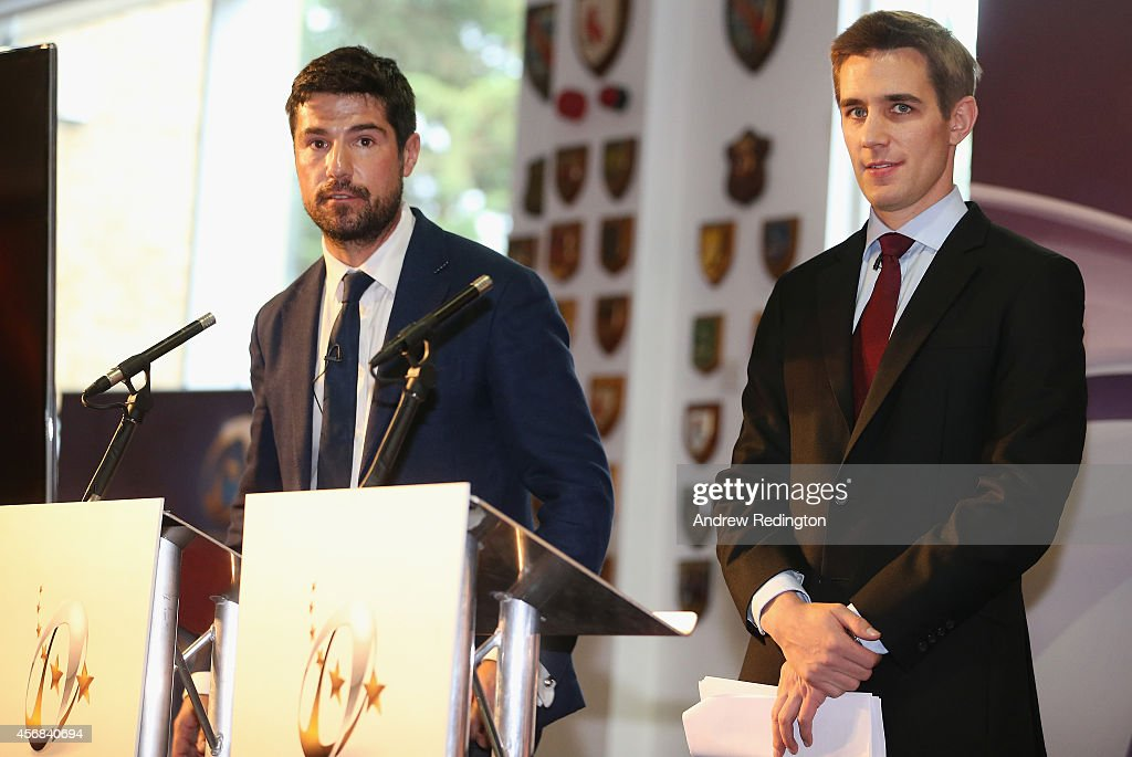 Craig Doyle of BT Sport and Alex Payne of Sky Sports Rugby address the media during the 2014/15 European Rugby Champions Cup and European Rugby Challenge Cup Tournament Launch at The Twickenham Stoop on October 8, 2014 in London, England.