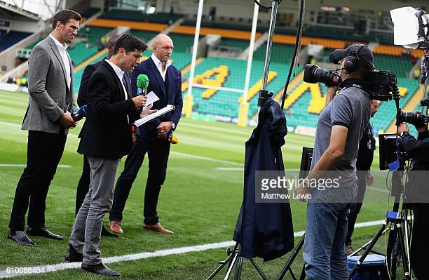 Craig Doyle, the BT Sport rugby presenter during the Aviva Premiership match between Northampton Saints and Wasps at Franklin's Gardens on September...