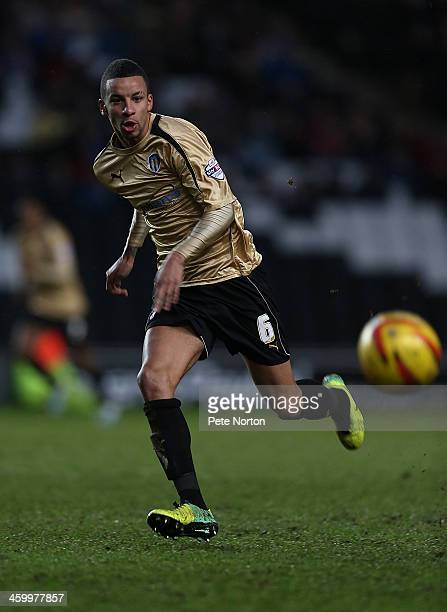 Craig Eastmond of Colchester United in action during the Sky Bet League One match between Milton Keynes Dons and Colchester United at Stadium MK on...