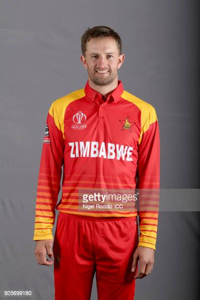 Craig Ervine of Zimbabwe poses for a picture during the Zimbabwe Portrait Session for the ICC Cricket World Cup Qualifier at The Holiday Inn on...