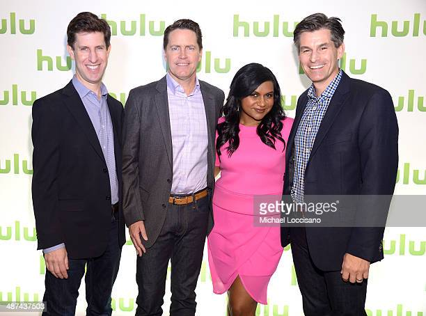 Craig Erwich Peter Naylor Mindy Kaling and Mike Hopkins attend Hulu's Upfront Presentation on April 30 2014 in New York City