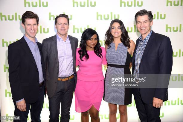 Craig Erwich Peter Naylor Mindy Kaling Cecily Strong and Mike Hopkins attend Hulu's Upfront Presentation on April 30 2014 in New York City