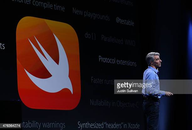 Craig Federighi Apple senior vice president of Software Engineering speaks about Swift during Apple WWDC on June 8 2015 in San Francisco California...