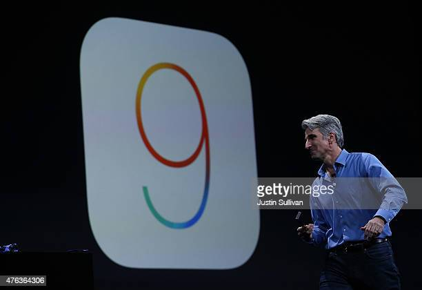 Craig Federighi Apple senior vice president of Software Engineering speaks about iOS 9 during Apple WWDC on June 8 2015 in San Francisco California...