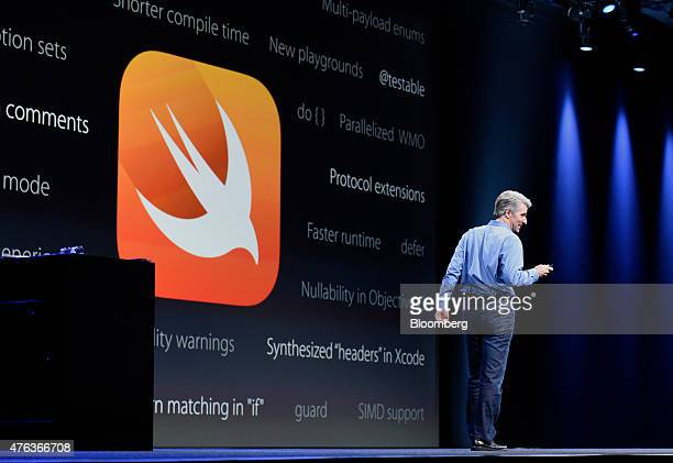 Craig Federighi senior vice president of Software Engineering at Apple Inc speaks during the Apple World Wide Developers Conference in San Francisco...