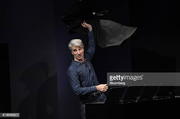 Craig Federighi senior vice president of Software Engineering at Apple Inc speaks during an event at the company's headquarters in Cupertino...