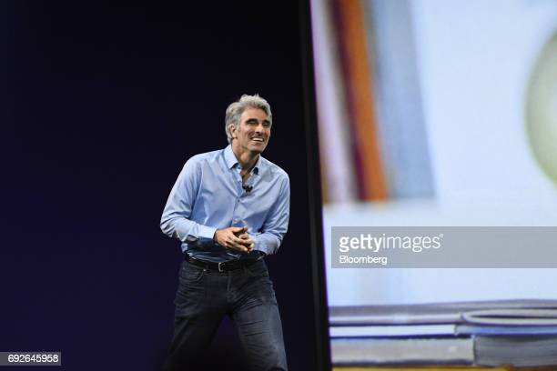 Craig Federighi senior vice president of software engineering at Apple Inc smiles during the Apple Worldwide Developers Conference in San Jose...
