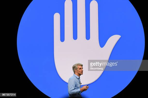 Craig Federighi senior vice president of software engineering at Apple Inc speaks during the Apple Worldwide Developers Conference in San Jose...