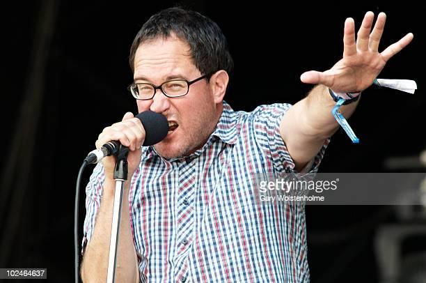 Craig Finn perform on stage on the fourth day of Glastonbury Festival at Worthy Farm on June 27, 2010 in Glastonbury, England.