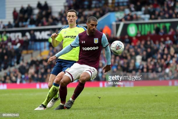 Aston Villa v Derby County Sky Bet Championship'nBIRMINGHAM ENGLAND APRIL 28 Craig Forsyth of Derby County closes down Aston Villa's Lewis Grabban