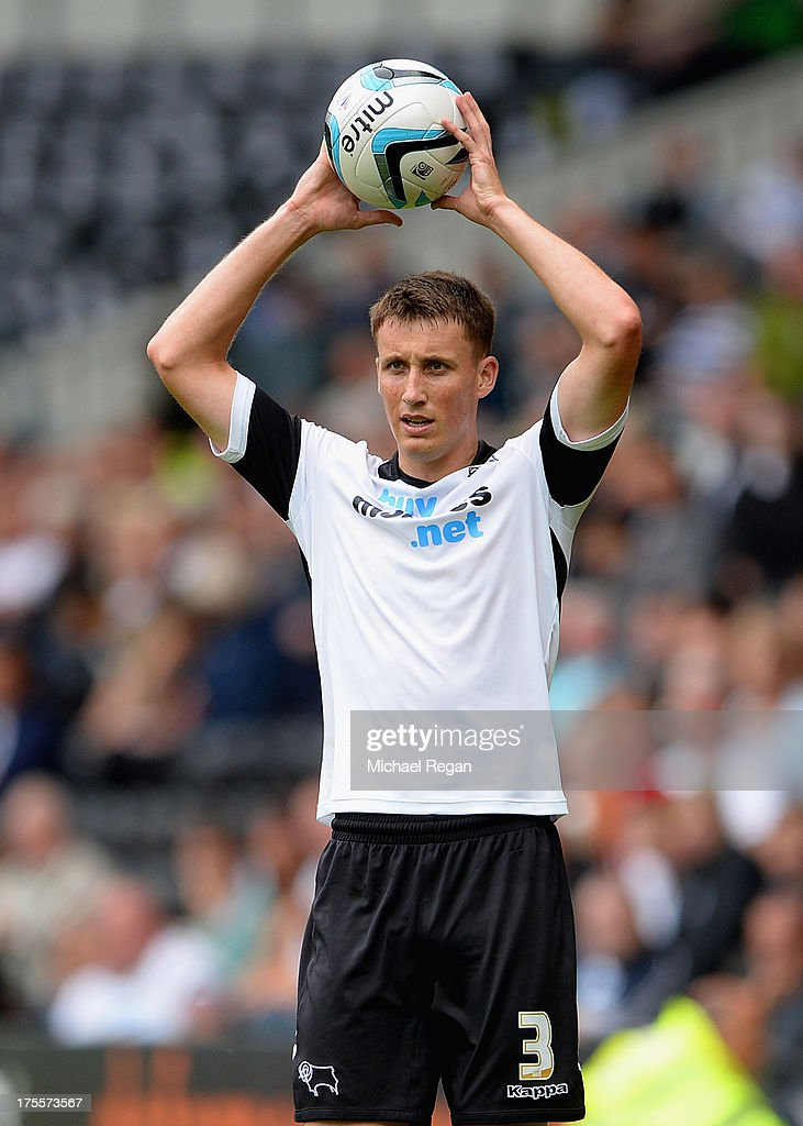 Craig Forsyth of Derby in action during the Sky Bet Championship match between Derby County and Blackburn Rovers at Pride Park Stadium on August 04, 2013 in Derby, England,