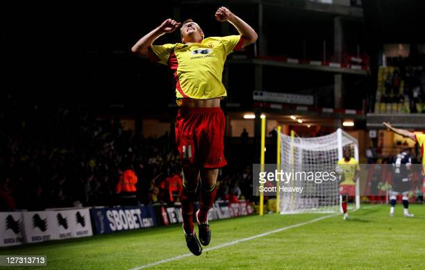 Craig Forsyth of Watford celebrates after scoring their second goal during the npower Championship match between Watford and Millwall at Vicarage...