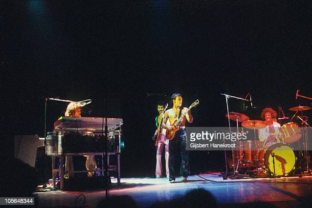 Craig Frost Mel Schacher Mark Farner and Don Brewer of Grand Funk Railroad perform on stage in 1974 in Amsterdam Netherlands