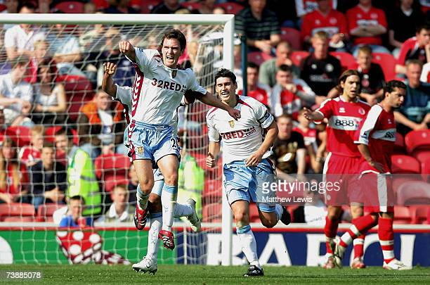 Craig Gardner of Aston Villa celebrates his goal during the Barclays Premiership match between Middlesbrough and Aston Villa at the Riverside Stadium...