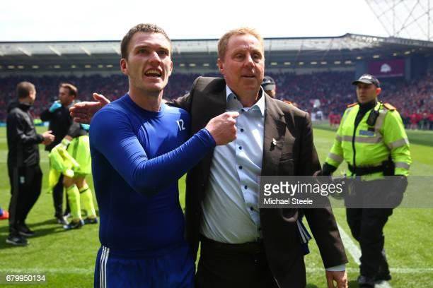 Craig Gardner of Birmingham City and Harry Redknapp Manager of Birmingham City celebrate after their team surive relegation after the Sky Bet...