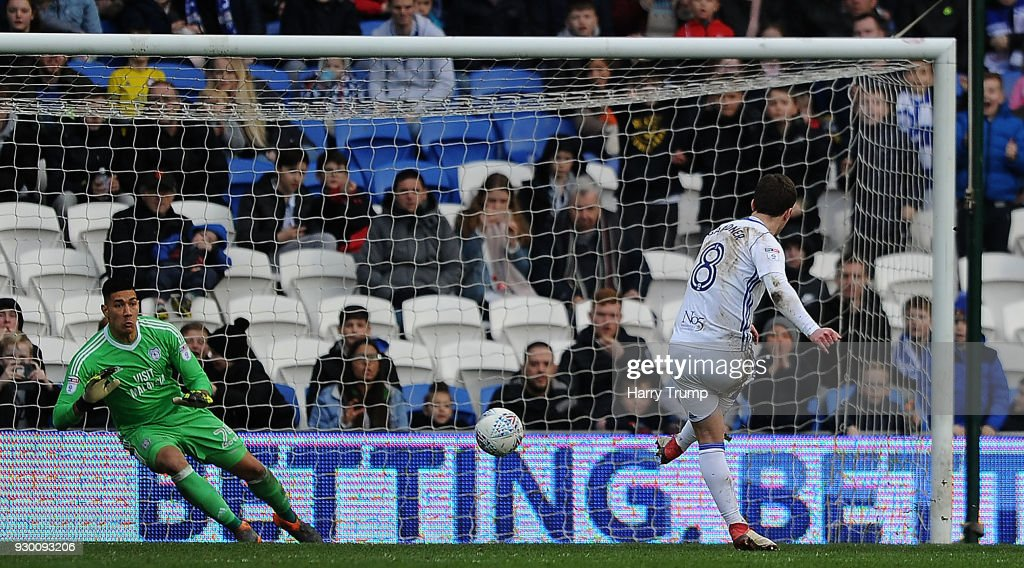 Craig Gardner of Birmingham City(R) scores his sides first goal during the Sky Bet Championship match between Cardiff City and Birmingham City at the Cardiff City Stadium on March 10, 2018 in Cardiff, Wales.