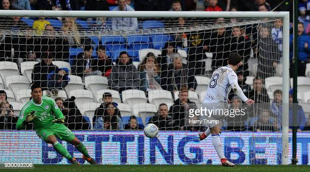 Craig Gardner of Birmingham City scores his sides first goal during the Sky Bet Championship match between Cardiff City and Birmingham City at the...