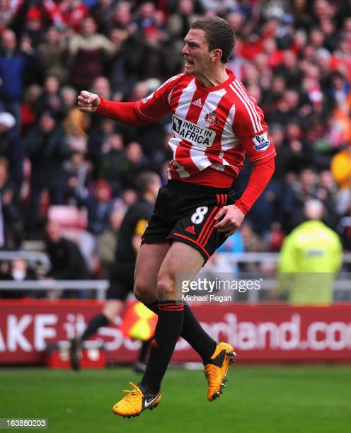 Craig Gardner of Sunderland celebrates scoring a penalty to make it 11 during the Barclays Premier League match between Sunderland and Norwich City...