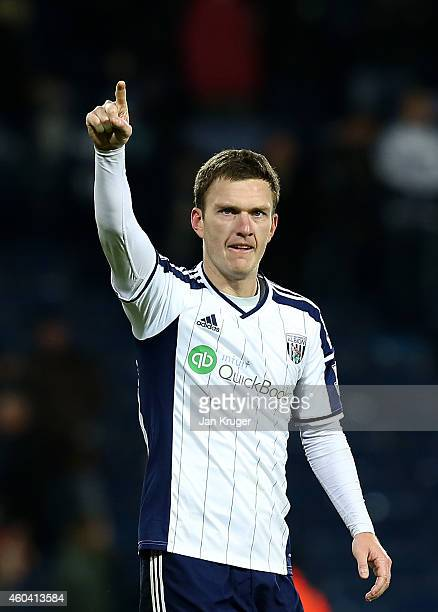 Craig Gardner of West Bromwich Albion applauds the fans at the final whistle during the Barclays Premier League match between West Bromwich Albion...