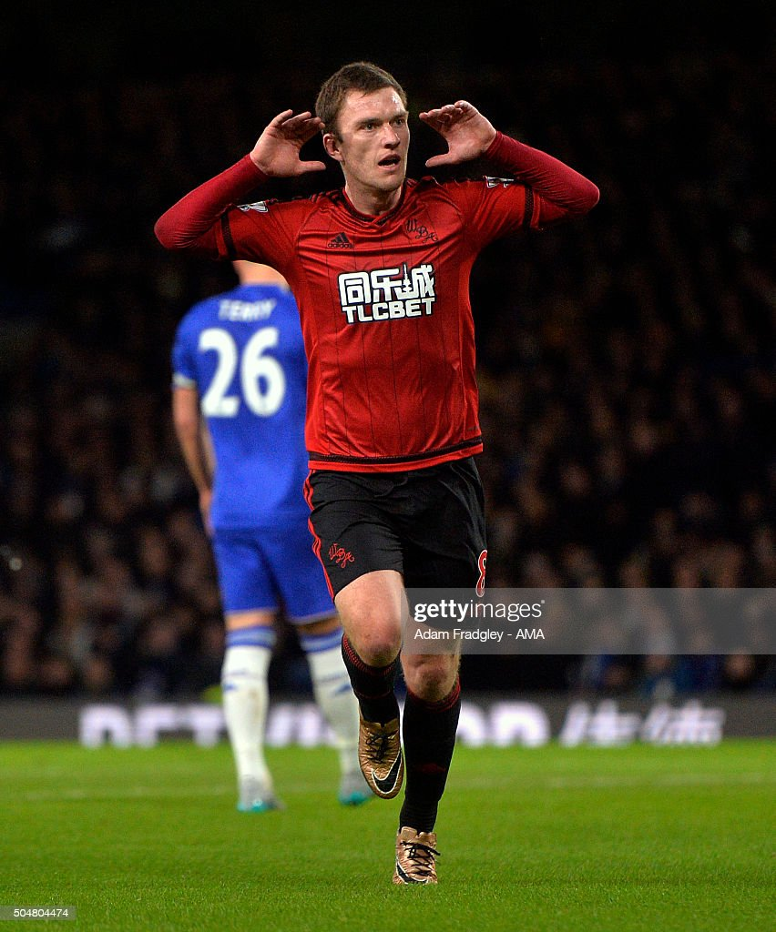 Craig Gardner of West Bromwich Albion celebrates after scoring a goal to make it 1-1 during the Barclays Premier League match between Chelsea and West Bromwich Albion at Stamford Bridge on January 13, 2016 in London, England.