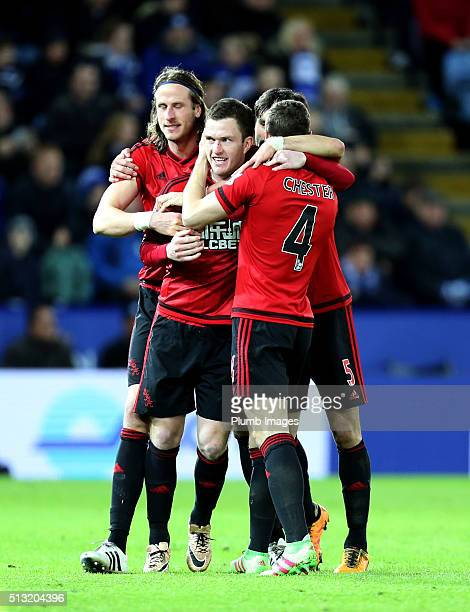 Craig Gardner of West Bromwich Albion celebrates after scoring to make it 22 during the Barclays Premier League match between Leicester City and West...