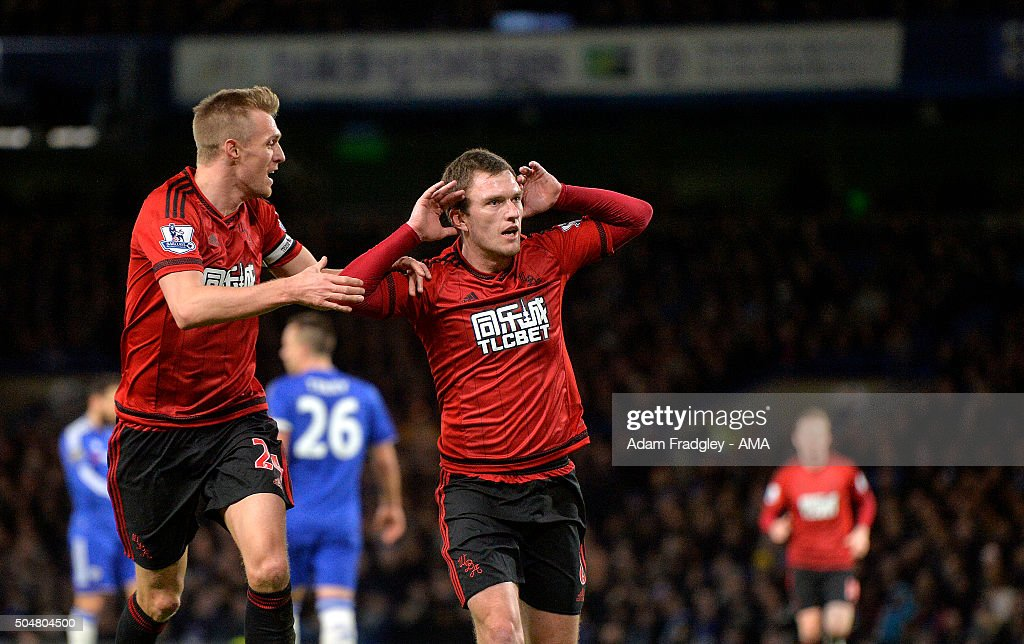 Craig Gardner of West Bromwich Albion celebrates with Darren Fletcher of West Bromwich Albion after scoring a goal to make it 1-1 during the Barclays Premier League match between Chelsea and West Bromwich Albion at Stamford Bridge on January 13, 2016 in London, England.