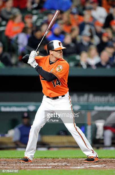 Craig Gentry of the Baltimore Orioles bats against the Boston Red Sox at Oriole Park at Camden Yards on April 22 2017 in Baltimore Maryland