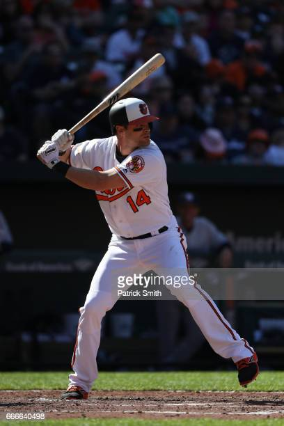 Craig Gentry of the Baltimore Orioles bats against the New York Yankees at Oriole Park at Camden Yards on April 9 2017 in Baltimore Maryland