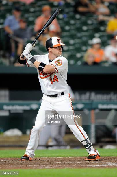 Craig Gentry of the Baltimore Orioles bats against the Oakland Athletics at Oriole Park at Camden Yards on August 21 2017 in Baltimore Maryland