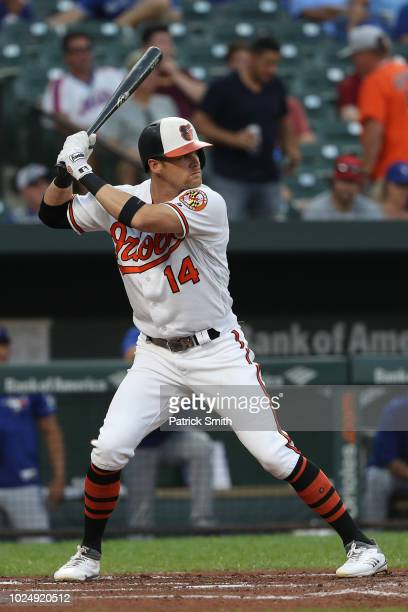Craig Gentry of the Baltimore Orioles bats against the Toronto Blue Jays at Oriole Park at Camden Yards on August 28 2018 in Baltimore Maryland