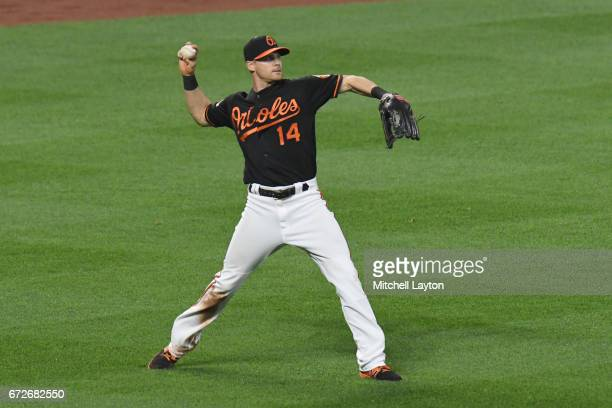 Craig Gentry of the Baltimore Orioles fields a ball during a baseball game against the Boston Red Sox at Oriole Park at Camden Yards on April 21 2017...
