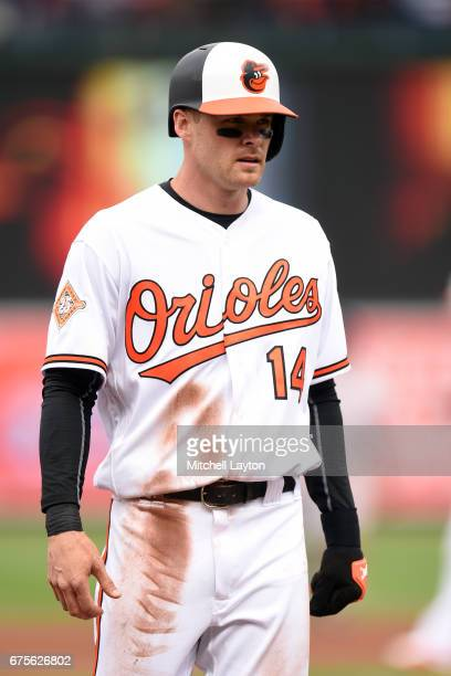 Craig Gentry of the Baltimore Orioles looks on during a baseball game against the Boston Red Sox at Oriole Park at Camden Yards on April 23 2017 in...