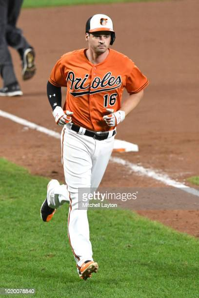 Craig Gentry of the Baltimore Orioles rounds the bases after hitting a home run during game two of a doubleheader against the Boston Red Sox at...