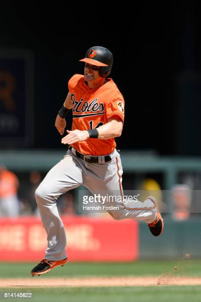 Craig Gentry of the Baltimore Orioles runs the bases against the Minnesota Twins during the game on July 8 2017 at Target Field in Minneapolis...