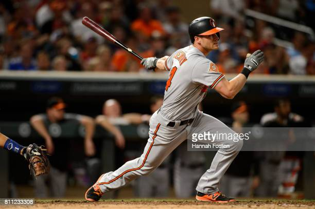 Craig Gentry of the Baltimore Orioles takes an at bat against the Minnesota Twins during the game on July 6 2017 at Target Field in Minneapolis...