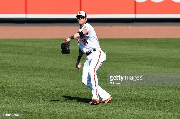 Craig Gentry of the Baltimore Orioles throws the ball in from the outfield against the Los Angeles Angels at Oriole Park at Camden Yards on August 20...