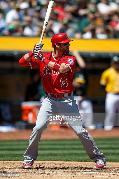 Craig Gentry of the Los Angeles Angels of Anaheim at bat against the Oakland Athletics during the second inning at the Coliseum on April 13 2016 in...