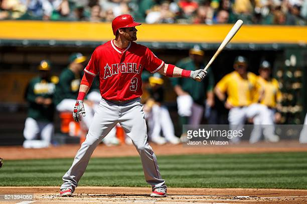 Craig Gentry of the Los Angeles Angels of Anaheim at bat against the Oakland Athletics during the first inning at the Coliseum on April 13 2016 in...